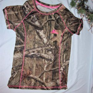 mossy oak camo womans small pink shirt top